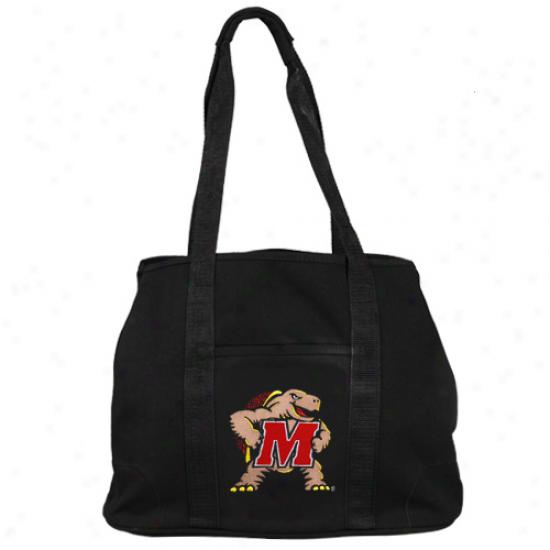 Maryland Terrapins Ladies Blaack Domestic Tote Bag