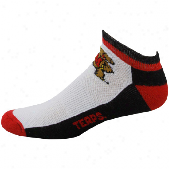 Maryland Terrapins White Color Block Half Cuson Crew Socks