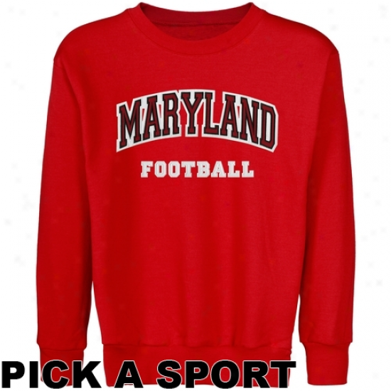 Maryland Terrapins Youth Custom Sport Arch Applique Crew Neck Fleece Sweatshirt - Red