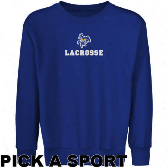Mcneese State Cowboys Youth Royal Blue Custom Sport Logo Applique Crew Neck Fleece Sweatshirt -