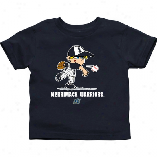 Merrimack College Warriors Infant Boys Baseball T-shirt - Navy Blue