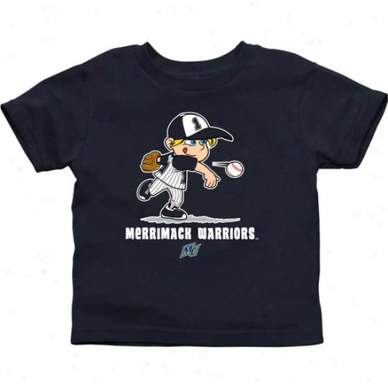 Merrimack College Warriors Infant Boys Baseball T-shirt - Navy Blue