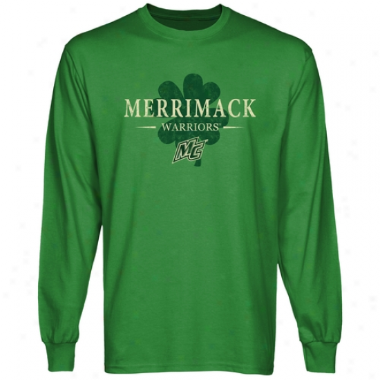 Merrimack College Warriors St. Paddy's Lnog Sleeve T-shirt - Green