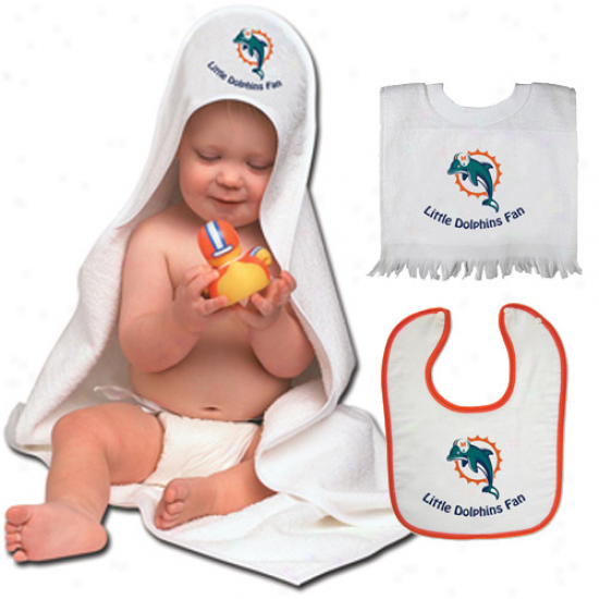 Miami Dolphins 3-piece Hooded Bath Towel And Bibs Set