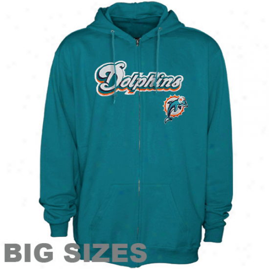 Miami Dolphins Aqua Zip Class Big Sizes Full Zip Hoodie Sweatshirt