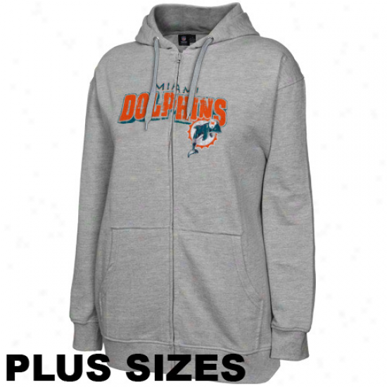 Miami Dolphins Ladies Ash Football Classic Iii Plus Sizes Full Zip Hoodie Sweatshirt