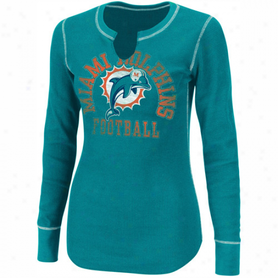 Miami Dolphins Ladies Game Day Gal Iii Long Sleeve Thermal T-shirt - Aqua