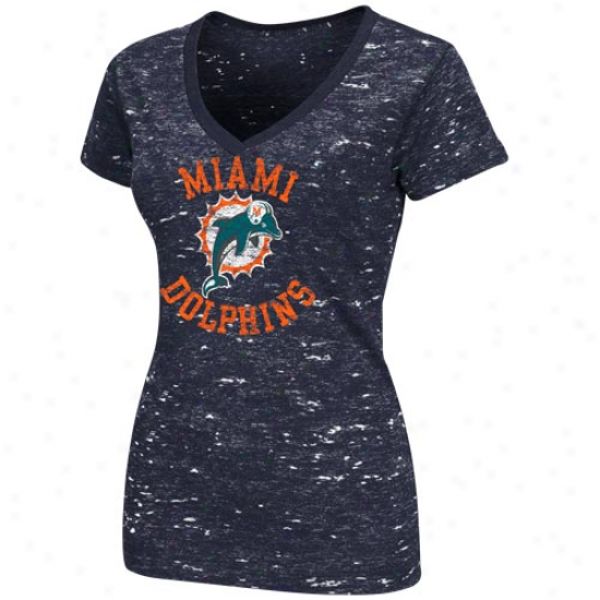 Miami Dolphins Ladies Pride Playing Ii Annual rate  V-neck T-shirt - Navy Blue