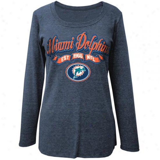 Miami Dolphins Ladiies Scoop Tri-blend Long Sleeve Missy T-shirt - Navy Blue