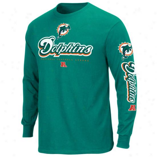 Miami Dolphins Primary Receiver Ii Long Sleeve T-shir5 - Aqua