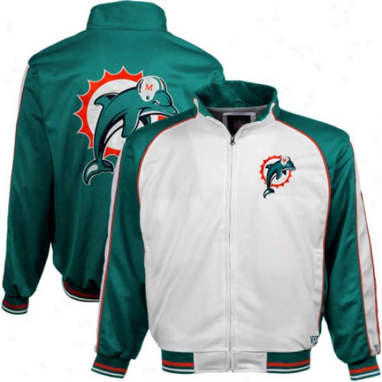Miami Dolphins White-aqua Loyalty Full Zip Track Jacket