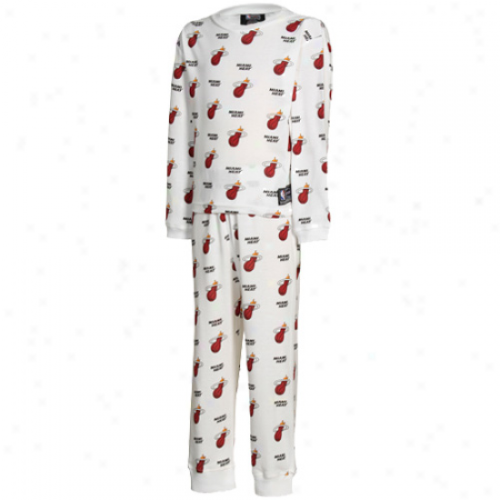 Miami Heat All Over Team Lpgo Youth Pajama Set - White