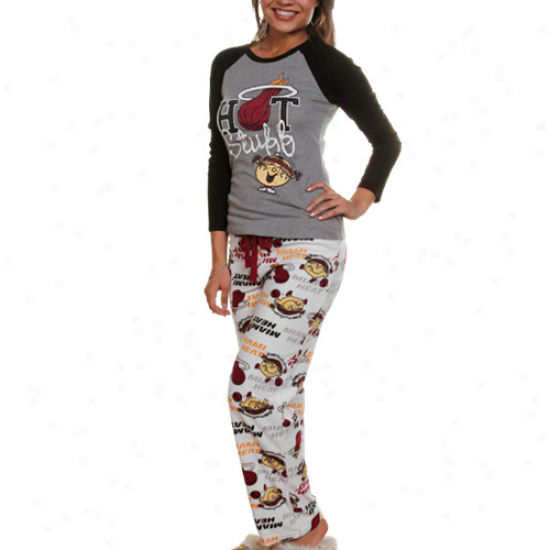 Miami Heat Ladies Gray-white Little Miss Nba 2-piece Pajama Set