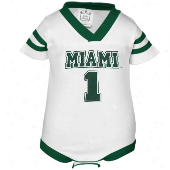 Miami Hurricanes #1 Infant White Cotton Football Jersey Creeper