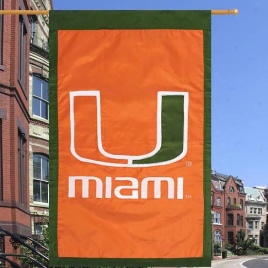 Miami Hurricanes 28'' X 44'' Team Logo Applique Flag