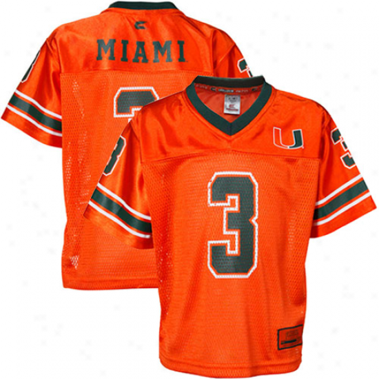 Miami Hurricanes #3 Toddler Stadium Autograph copy Football Jersey - Orangd