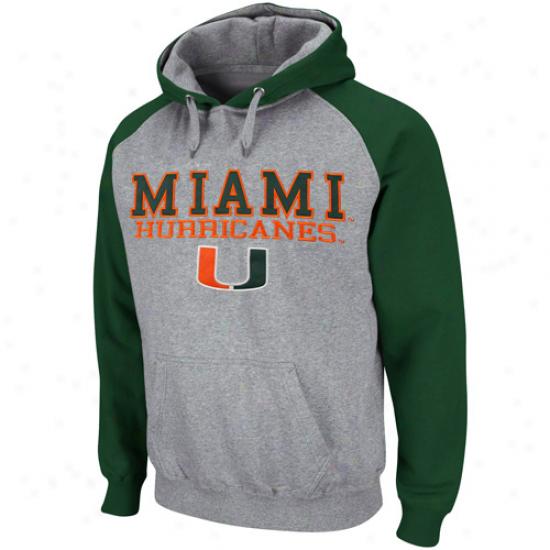 Miami Hurricanes Ash-green Atlas Pullover Hoodie Sweatshirt