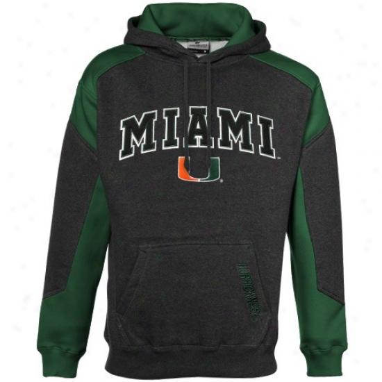 Miami Hurricanes Charcoal-green Challenger Heathered Hoody Sweatshirt