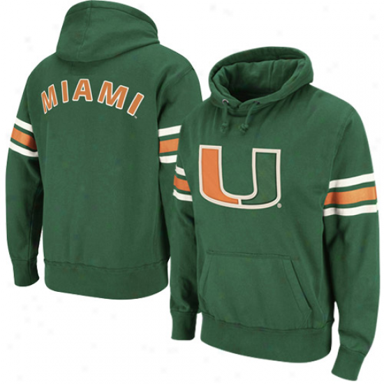 Miami Hurricanes Green Blindside Pullover Hoodie Sweatshirt