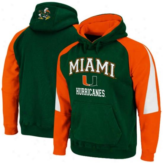 Miami Hurricanes Green-orange Playmaker Pullover Hoodie Sweatshirt