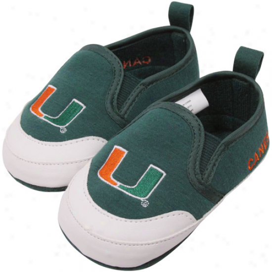 Miami Hurricanes Infant Green Pre-walk Shoss