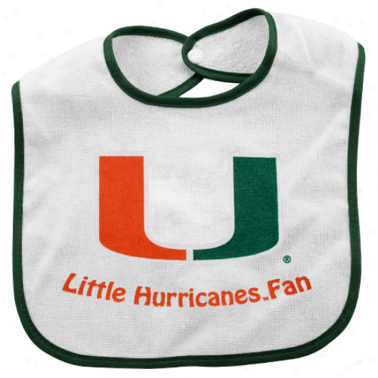 Miami Hurricanes Infant White Little Blow  Bib