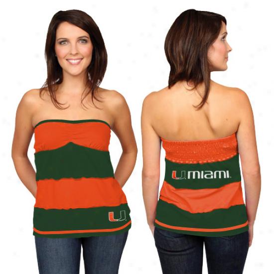 Miami Hurricanes Ladies Green-orange Striped Rebound Tube Top