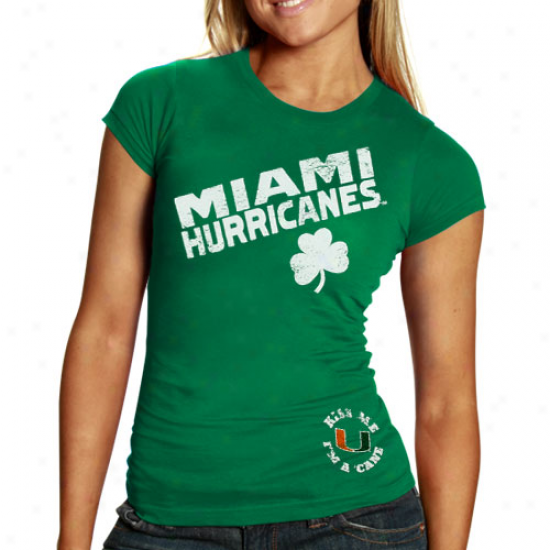 Miami Hurricanes Ladies Kelly Green St. Patrick's Day Shamfock T-shirt