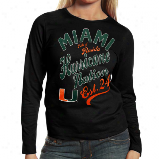 Miami Hurricanes Ladies Splashy Long Sleev eT-shirt - Black