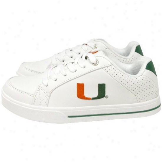 Miami Hurricanes Ladies White Team Logo Leather Tennis Shoes