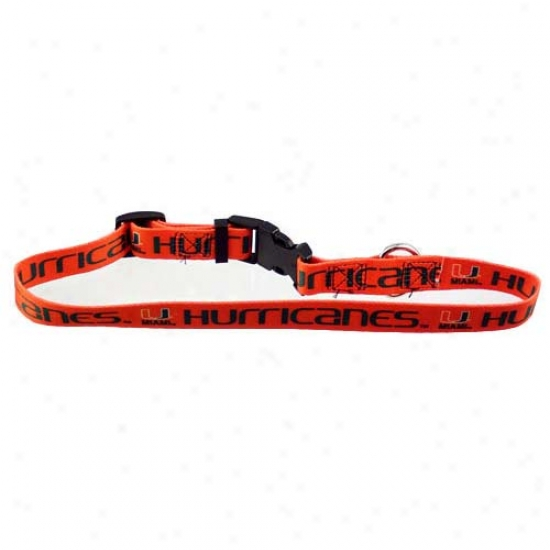 Miami Hurricanes Orange Adjhstable Dog Collar