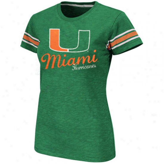 Miami Hurricanes Women's Backspin Crew Slub T-shirt - Green