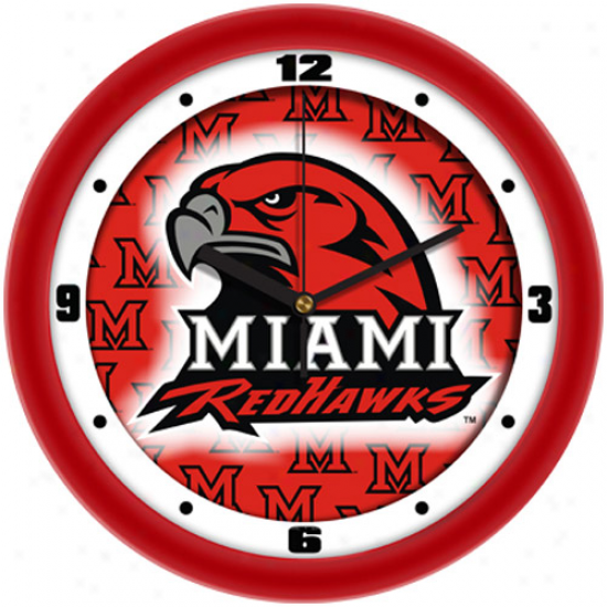 """miami University Redhawks 11.5"""" Red Dimension Wall Clock"""
