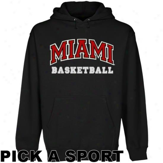 Miami University Redhawks Custom Sport Arch Applique Pullover Hoodie - Black
