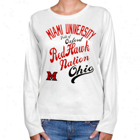 Miami University Redhawks Ladies Splashy Long Sleeve T-shirt - White