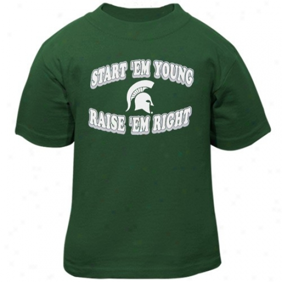 Michigan State Spartans Infant Gree nRaise 'em Right T-shirt