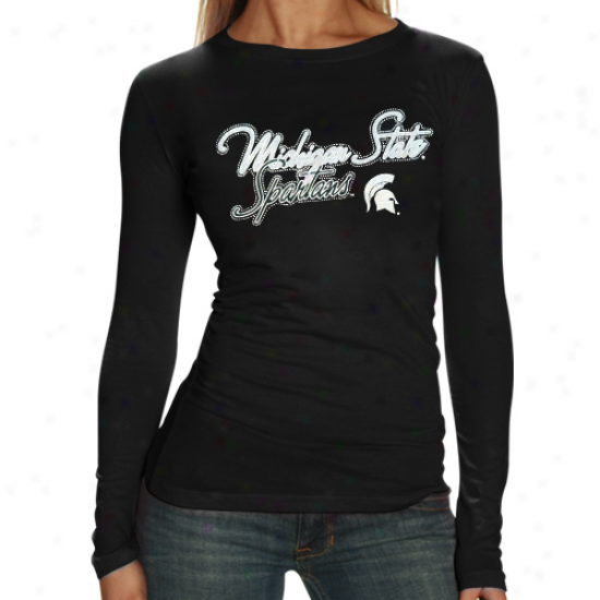Michigan State Spartans Ladies Black Iriedscent Foil Long Sleeve Tissue T-shirt