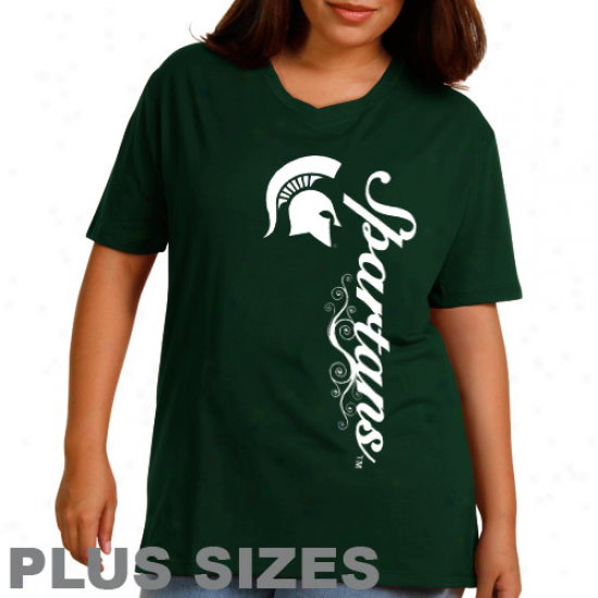 Michigan State Spartans Ladies Dolly Glitt3r Plus Sizes T-shirt - Green