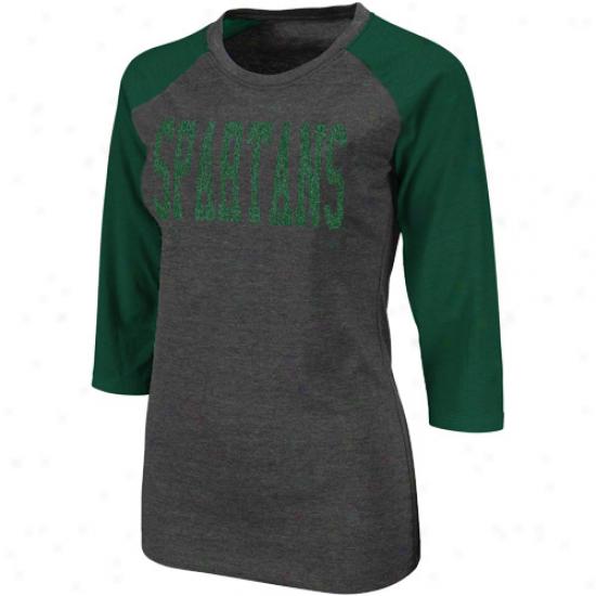 Michigan State Spartans Ladies Vision Three-quarter Sleeve Raglan T-shirt - Charcoal-green