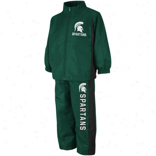Michigan State Spartans Toddler Green Red Zone Full Zip Jacket & Pants Set