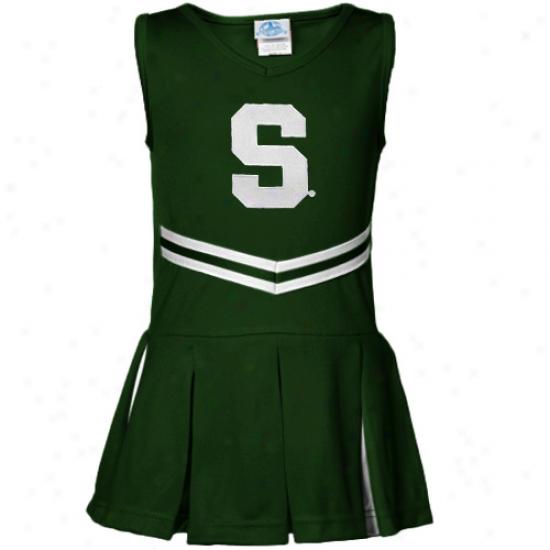 Michigan State Spartans Youth Girls Green Cheerleader Dress