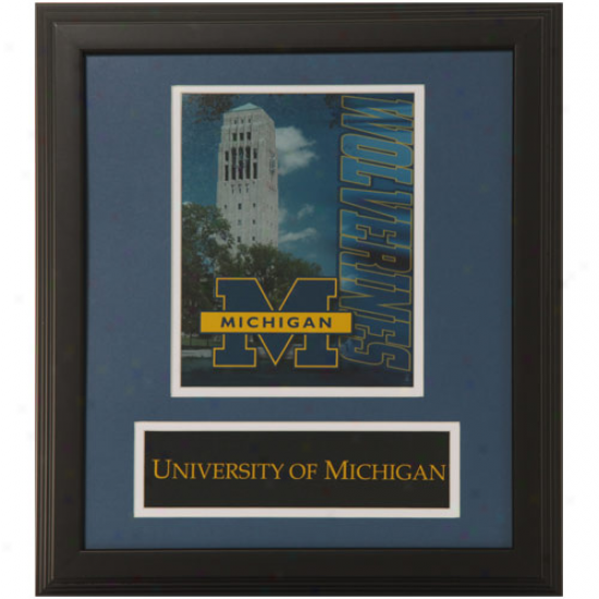 Michigan Wolverines 13'' X 15'' Navy Blue Campus Framed Photograph