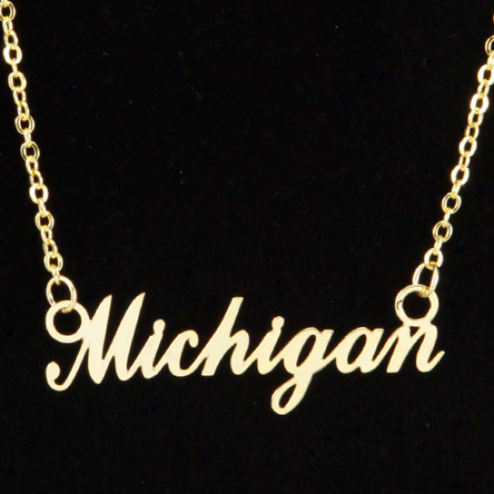 Michigan Wolverines Gold Script Necklace