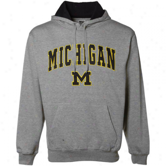 Michigan Wolverines Gray Classic Twill Hoody Sqeatshirt