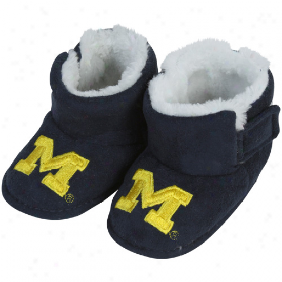Michigan Wolverines Infant Navy Blue Mascot Bootie Slippers