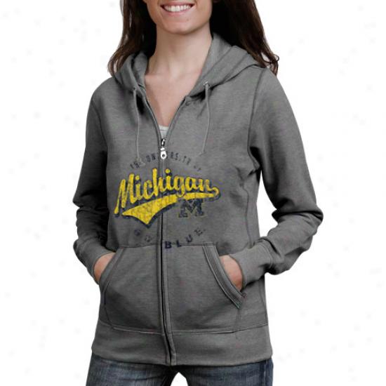 Michigan Wolverines Ladies Ash Swept Full Zip Hoodie Sweatshirt