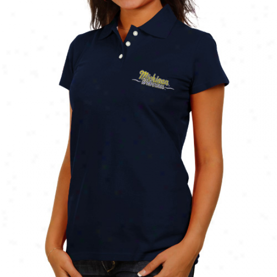 Michigan Wolverines Ladies Navy Blue Ivy Alliance Polo