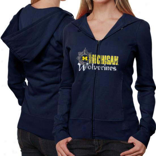 Michigan Wol\/erines Ladies Navy Blue Puff Sleeve Full Zip Hoodie Jacket
