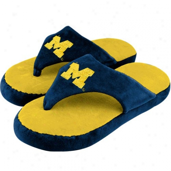 Michigan Wolverines Maize-navy Blue Comfyflop Indoor Flip Flop