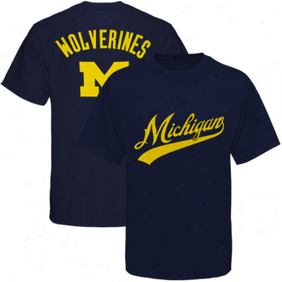Michigan Wolverines Navy Blue Blender T-shirt